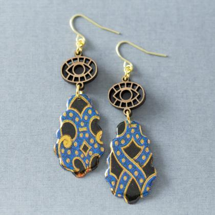Evil Eye Earrings, Gold & Blue Tear..
