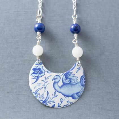 White & Blue Bird Necklace, Delft N..