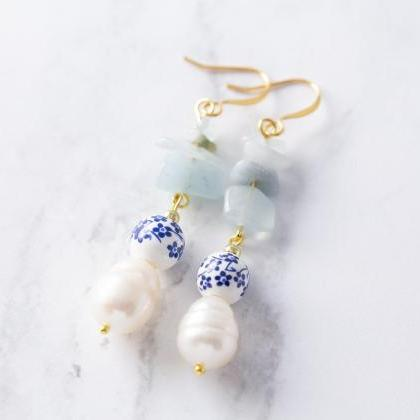Blue Flower Earrings, Freshwater Pe..