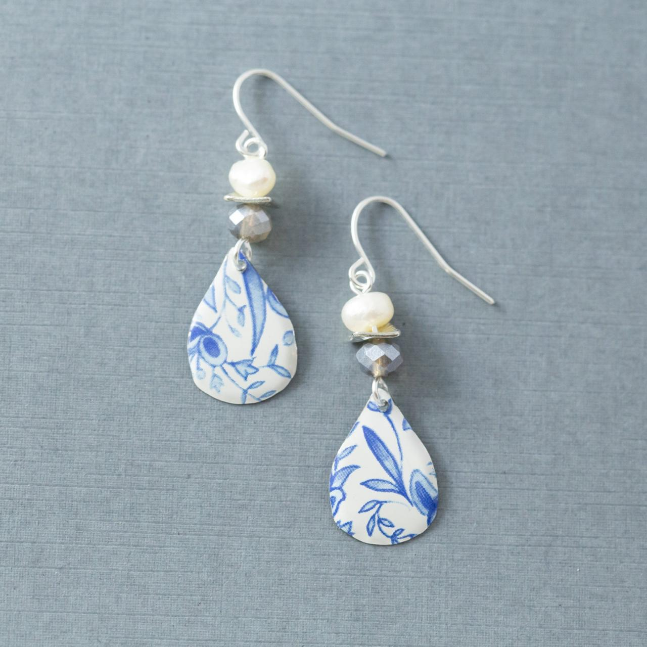 White and Blue Delft Teardrop Earrings with Silver Glass Beads & Freshwater Pearls, Dangle Earrings, Tin Jewelry
