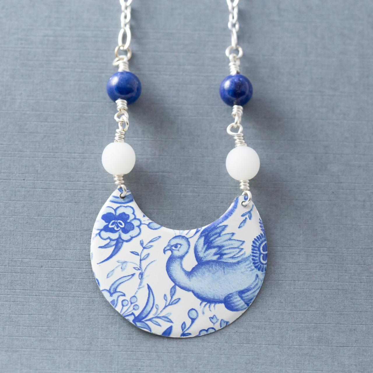 White & Blue Bird Necklace, Delft Necklace, Semicircle Necklace, Cobalt Blue Necklace, Blue Flower Necklace, Tin Jewelry, Delft Jewelry