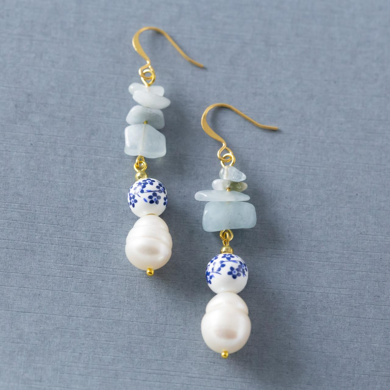 Blue Flower Earrings, Freshwater Pearl Earrings, Aquamarine Earrings, Aquamarine Jewelry