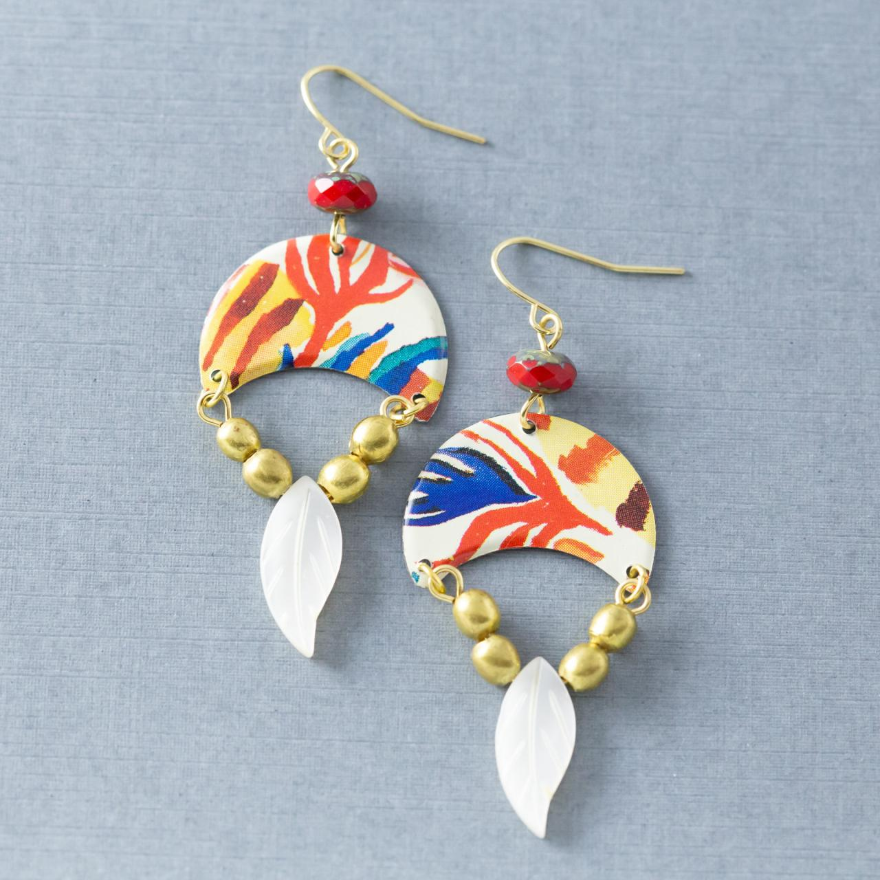 Boho Half Circle Tin Mother of Pearl Feather Earrings