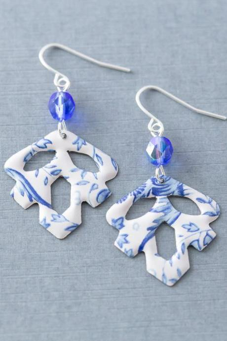 Boho Blue & White Tin Leaf Earrings, Leaf Dangle Earrings, Bohemian Jewelry, Leaf Jewelry, Anniversary Gift