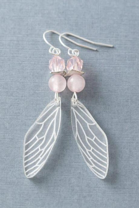 Pink Fairy Wings, Rose Quartz Earrings, Cicada Wing Earrings, Insect Wing Earrings, Fantasy Jewelry