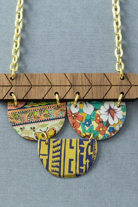Boho Mixed Media Necklace, Semicircle Necklace, Boho Wood Necklace, Bar Necklace, Geometric Jewelry, Unusual Jewelry, Statement Necklace