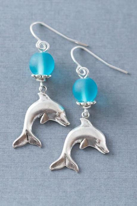 Blue and Silver Dolphin Dangle Earrings, Dolphin Jewelry, Beach Jewelry, Ocean Jewelry