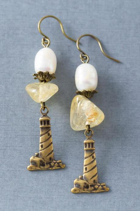 Lighthouse Earrings, Citrine Earrings, Beach Jewelry, Freshwater Pearl Earrings, Summer Jewelry, Coastal Style