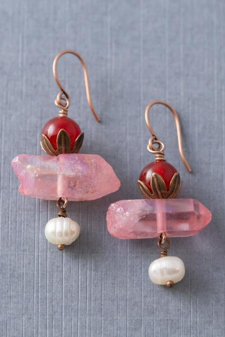 Red Quartzite, Pink Crystal, & Freshwater Pearl Earrings, Crystal Earrings, Quartzite Earrings, Pearl Jewelry, Dangle Earrings