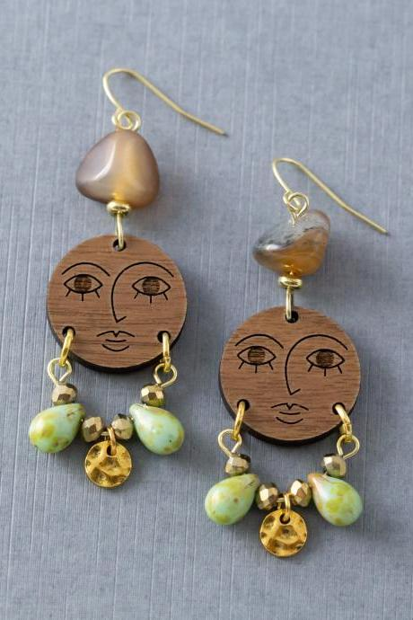 Wood Face Earrings, Face Jewelry, Moon Face Earrings, Statement Earrings, Artistic Earrings, Artsy Jewelry