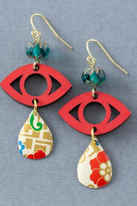 Red Evil Eye Teardrop Earrings, Mixed Media Earrings, Wooden Eye Earrings, Boho Modern Earrings, Bohemian Jewelry