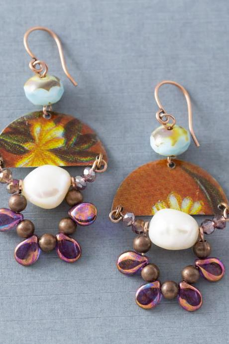 Half Circle Earrings, Freshwater Pearl Earrings, Brown, Blue and Purple Earrings, Flower Earrings, Bohemian Jewelry, Unique Jewelry