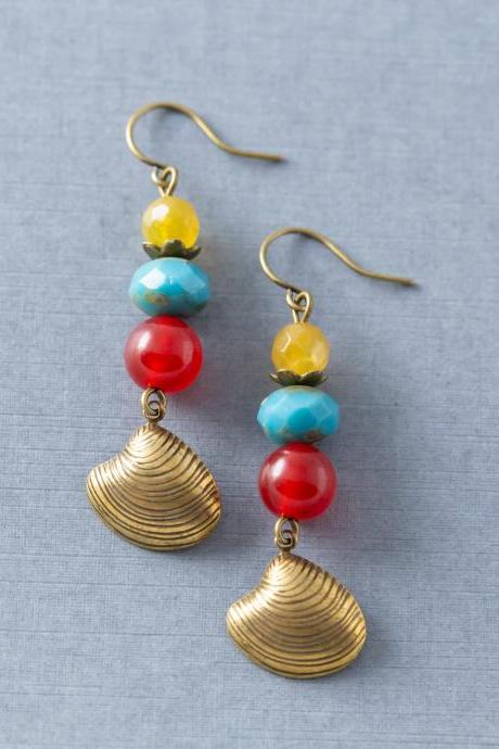 Colorful Boho Beach Shell Earrings with Yellow Agate, Red Quartzite, and Blue Czech Glass Beads, Beach Jewelry, Pawleys Island Made