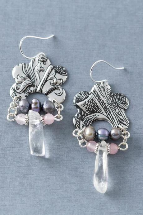 Silver Bohemian Vintage Tin Earrings with Silver Freshwater Pearls and Rose Quartz Beads, Tin Jewelry