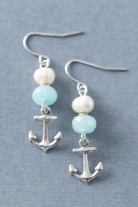 Silver Anchor Nautical Beach Earrings with Freshwater Pearls and Blue Amazonite Beads, Nautical Jewelry