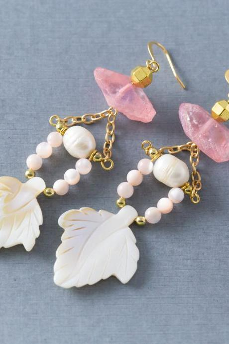 Tropical Pink & White Leaf Crystal Statement Mother of Pearl Earrings
