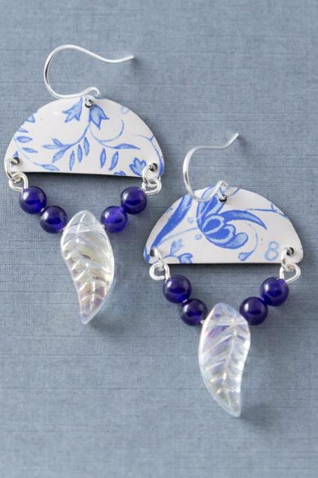 Blue and White Delft Floral Half Circle Tin Earrings with Cobalt Blue Beads and Glass Leaf, Half Circle Jewelry