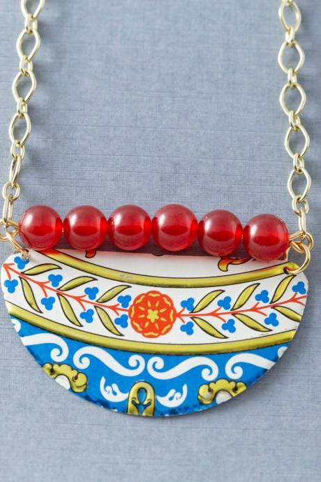 Half Circle Boho Chic Colorful Red and Blue Tin Necklace with Red Quartzite Beads and Gold Tone Chain, Tin Jewelry